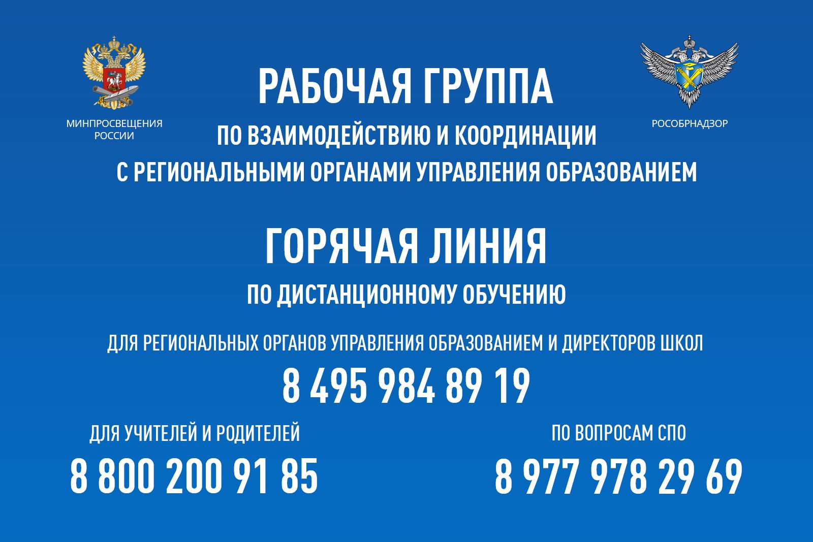 Операторы горячей линии Минпросвещения России для учителей и родителей по организации в образовательных учреждениях диста